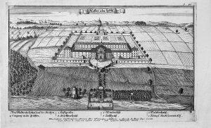 Špitál v Kuksu na dobové rytině z roku 1712.